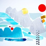 Thames Barrier, woodcut and collage