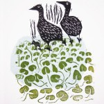 Geese at Monkey Island, woodcut and collage