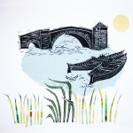 Halfpenny Bridge, Lechlade: woodcut and collage