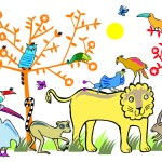 Animal gathering - mural design for Teddington Memorial Hospital