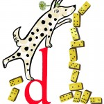 D is for a Dotty Dog playing Dominoes
