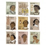 Commemorative stamps for nine Influential Black Londoners, Black History Month exhibtition at NT property Sutton House, October 2013