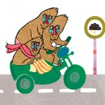 Three mandrills on a motorbike