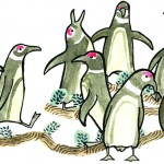 Magellanic penguins - watercolour