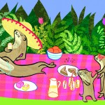 Otter family picnic in a leafy hollow