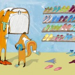The foxes admire their shoe collection