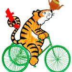 T is for a Tiger on a Trike with a Teapot