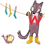 W is for a Wistful Wolf hanging up Washing